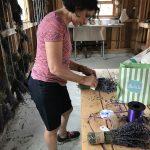 Aunt Donna putting the final touches on a lavender bouquet.