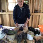 Uncle Paul helping put together lavender bundles.